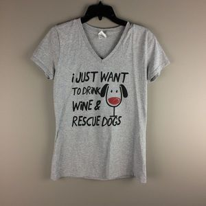Drink Wine and Rescue Dogs V-neck gray tee